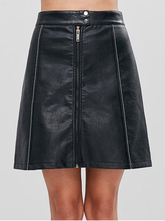 تنورة خط فو جلدية - أسود S
