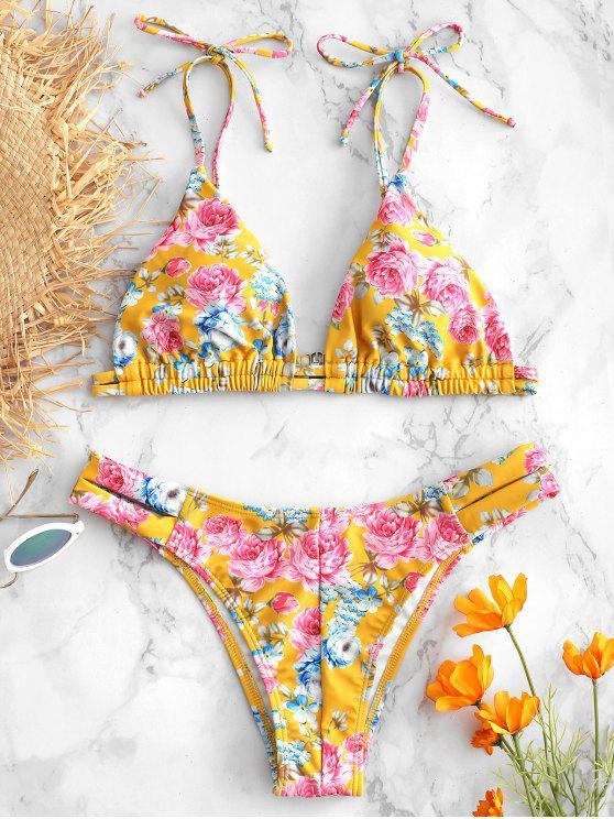 hot Flower Tie Shoulder Bikini Set - GOLDEN BROWN L