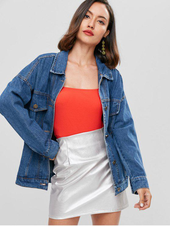 fashion Oversized Boyfriend Trucker Denim Jacket - BLUE S