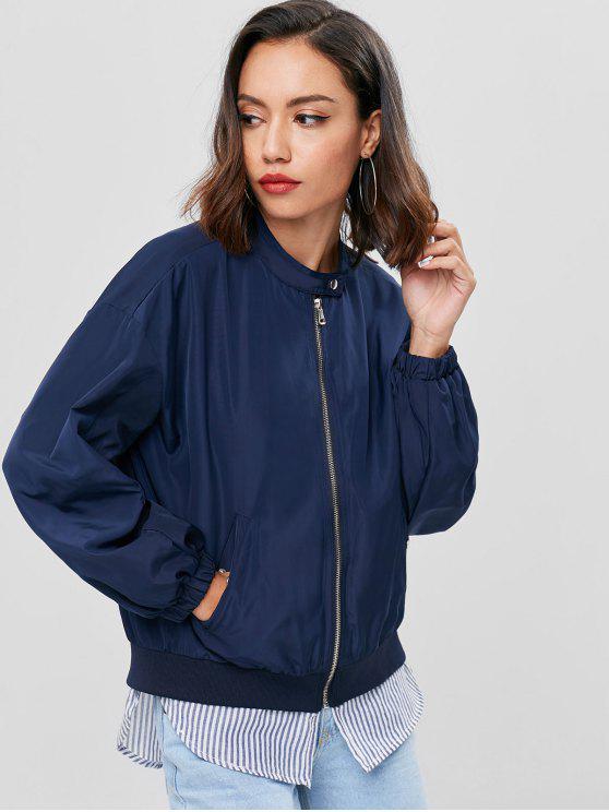 best Zip Up Layered Hem Windbreaker Jacket - NAVY BLUE L