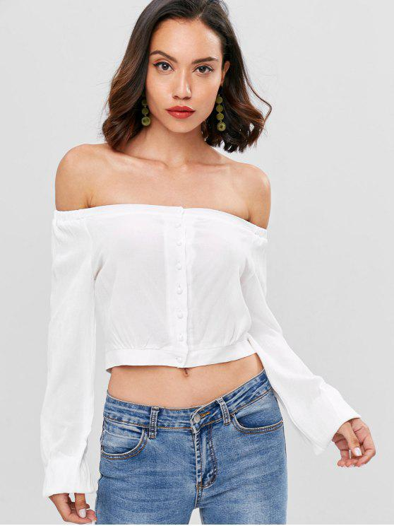 shop Button Up Off Shoulder Top - WHITE M