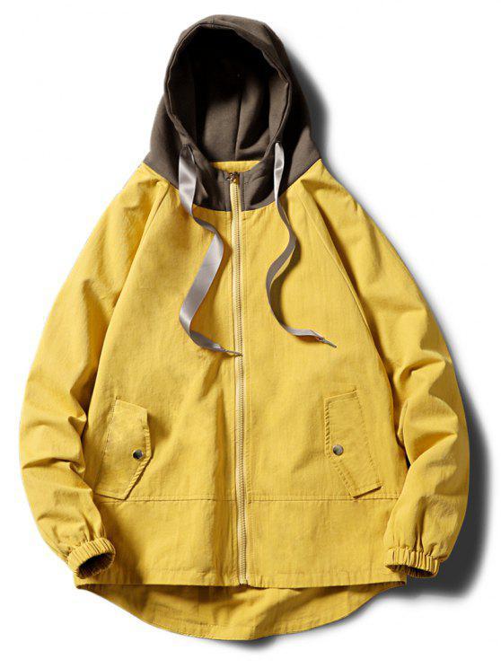 على النقيض زمم جانبي جيوب سترة مقنعين - الأصفر XS