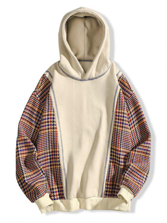 trendy Seam Detail Checked Patch Fleece Hoodie - APRICOT XL