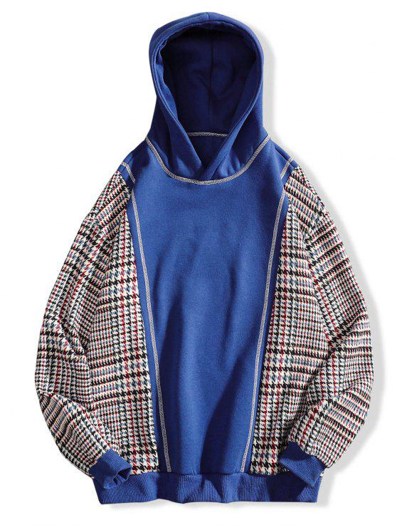 affordable Seam Detail Checked Patch Fleece Hoodie - BLUE XL