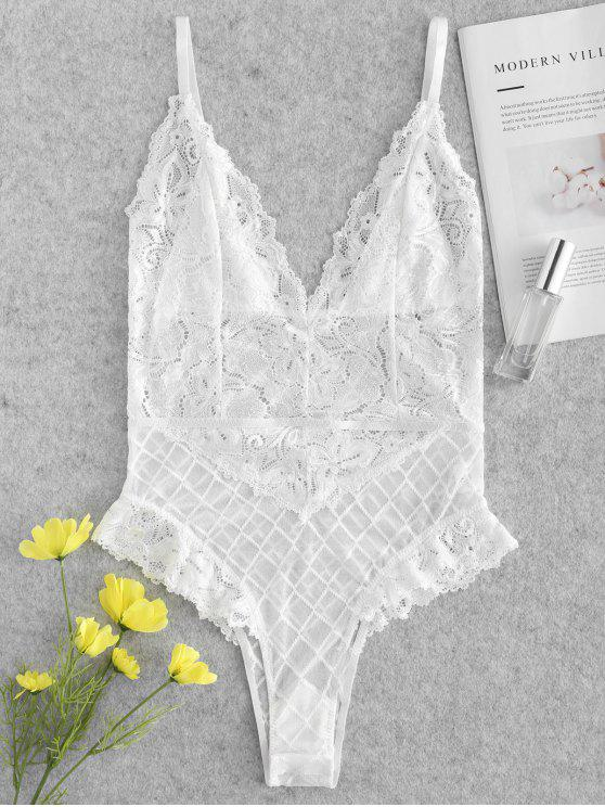 a16e4e290 39% OFF  2019 Sheer Lace Snap Crotch Lingerie Teddy Bodysuit In ...