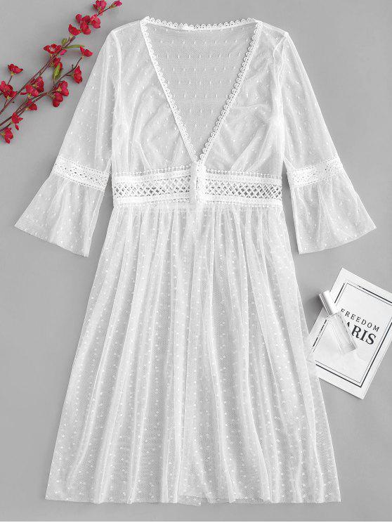 Haken Und Auge Sheer Tüll Sleep Robe - Weiß L