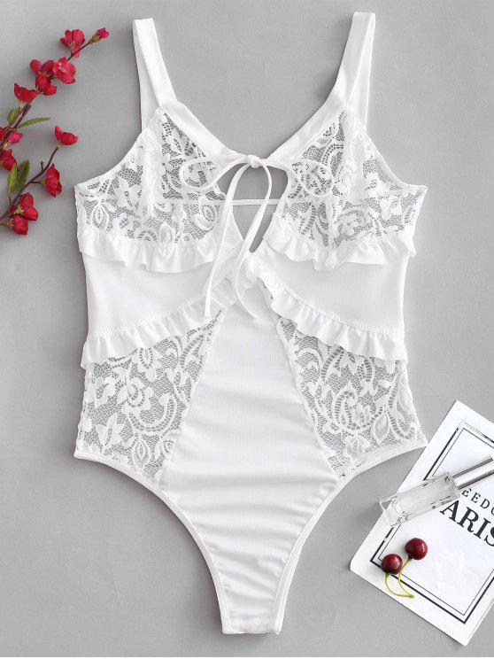 shops Snap Crotch Lace Panel Ruffle Teddy Bodysuit - WHITE L