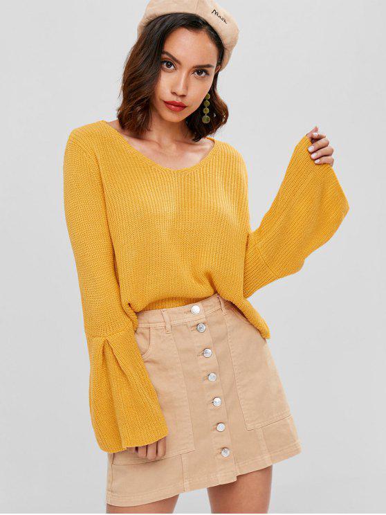 women Chunky Knit Cropped Sweater - YELLOW ONE SIZE