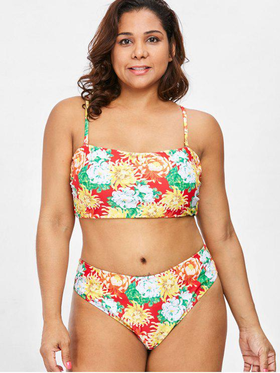 shop Plus Size Floral Bikini Set - MULTI 1X