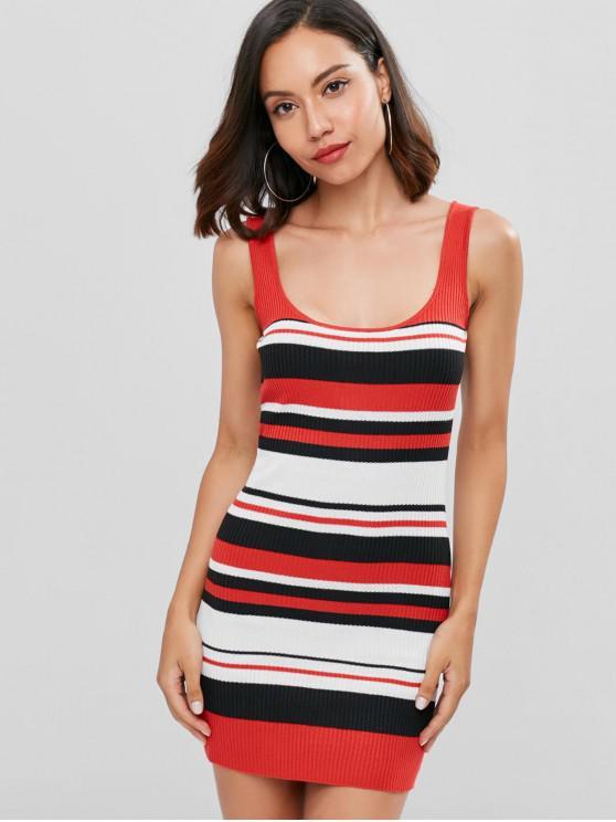 chic Striped Mini Tank Dress - RED L