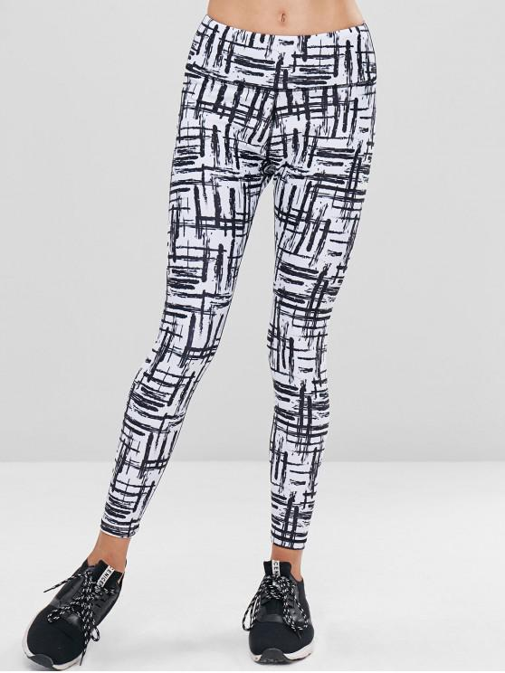 hot Scrawl High Waisted Sports Leggings - MULTI M