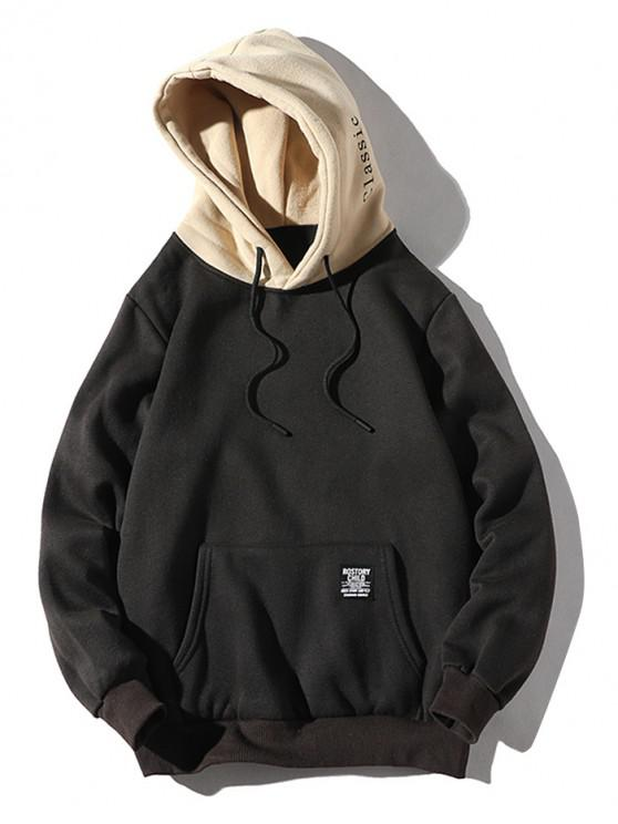 shop Color-blocking Letter Patch Detail Pouch Pocket Fleece Hoodie - BLACK S