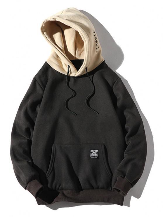 Color-blocare Detalii Scrisoare Patch pungă de buzunar Fleece Hoodie - Negru M