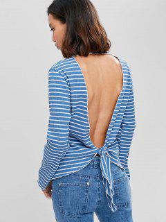 Striped Ribbed Cut Out Top - Windows Blue M