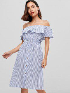 Stripes Off Shoulder Casual Dress - Blue S