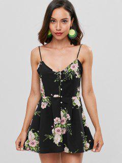 Floral Print Buttoned Cami Romper - Black L