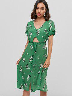 Floral Cut Out Button Front Midi Dress - Green S