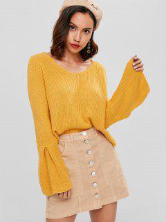 Chunky Strick Geschnittener Pullover - Gelb