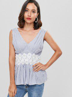 Crochet Flower Striped Peplum Tank Top - Multi S