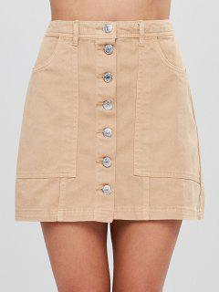 Button Up Cargo Pockets Twill Mini Skirt - Tan S