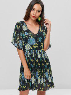 Floral Print Smock Pleated Dress - Black M