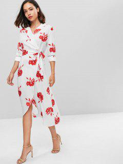 Overlap Floral Surplice Dress - White S