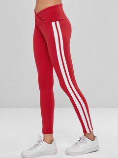 High Waisted Striped Sports Leggings - Red S