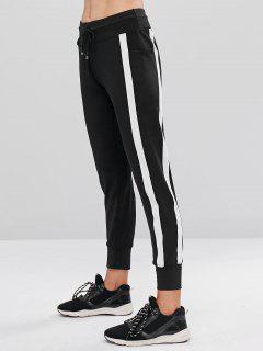 Contrast Drawstring Sports Jogger Pants - Black L