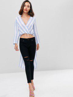 High Low Striped Longline Top - Pastel Blue S
