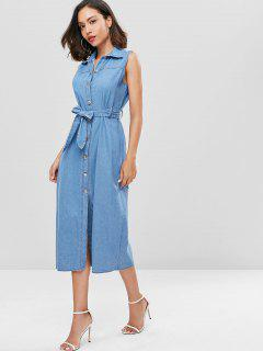 Belted Button Up Denim Dress - Denim Blue L