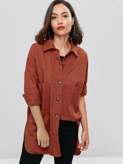 Oversized Denim Pocket Button Up Shirt - Chestnut L