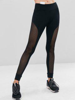 Perforated High Waisted Sports Leggings - Black L