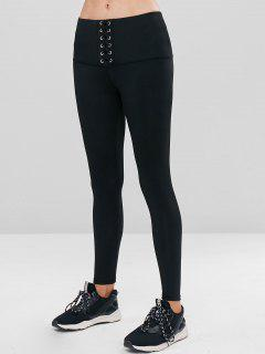 High Waisted Lace-up Gym Leggings - Black L