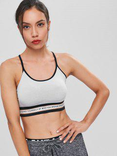 Straps Caged Padded Sports Bra - Light Gray