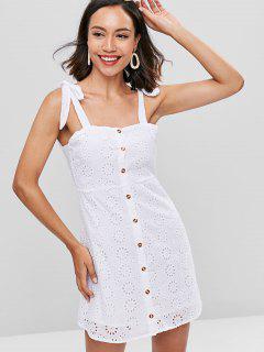 Vestido De Botón Con Hombros Descubiertos - Blanco L