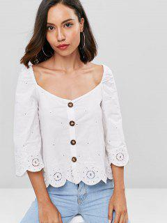 Überbackene Stickerei Button Up Bluse - Weiß L