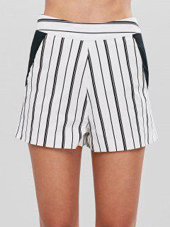 Striped High Waisted Shorts - White M
