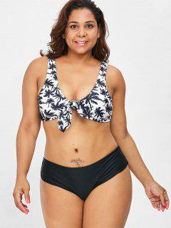 Knot Coconut Palm Plus Size Bikini Set - Black 1x