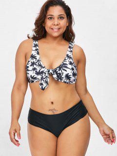 Knot Coconut Palm Plus Size Bikini Set - Black 2x