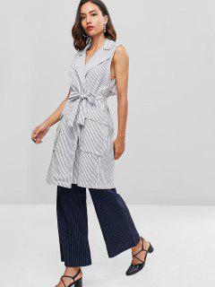 Striped Belted Back Slit Waistcoat - White L