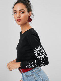 Moon Sun Graphic Sleeve Cropped Sweatshirt - Black M