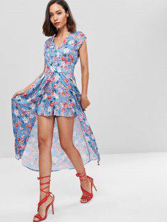Überlagern Sie Flowy Floral Strampler Kleid - Multi S