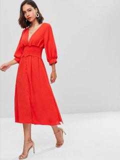 Puff Sleeve Plunge Smocked A Line Dress - Red S
