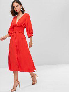 Puff Sleeve Plunge Geräucherte A-Linie Kleid - Rot M