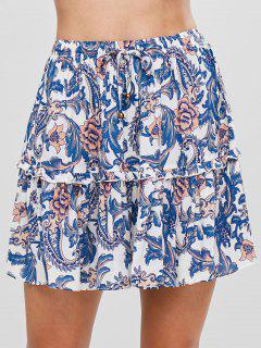 A Line Tiered Floral Mini Skirt - Multi L