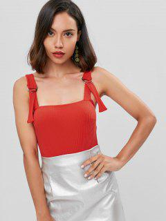 Ribbed High Waisted Bodysuit - Red M