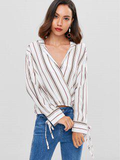 Streifen Schräge Asymmetrische Bluse - Weiß S