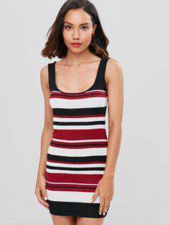 Striped Mini Tank Dress - Red Wine L