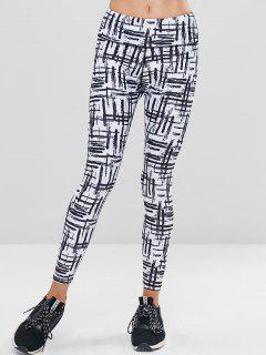 Scrawl High Waisted Sports Leggings - Multi M