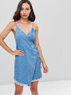 Cami Wrap Denim Mini Dress - Blue L